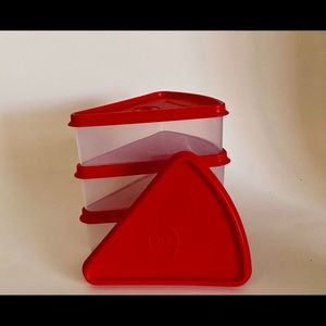 COPY - Tupperware Pie Slice Keeper one red lid new
